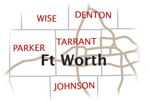 Home Health Care Coverage Area for Texas Cardiac Care - Wise, Denton, Parker, Tarrant, Johnson county